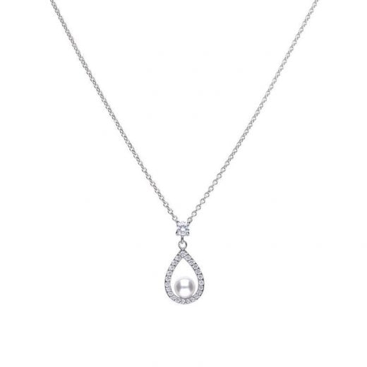 Diamonfire 0.55 Ct Teardrop Shape Pendant Silver With White Shell Pearl And Diamonfire Cubic Zirconia