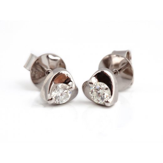 Cherubs Jewellery 18ct Diamond Heart Earrings