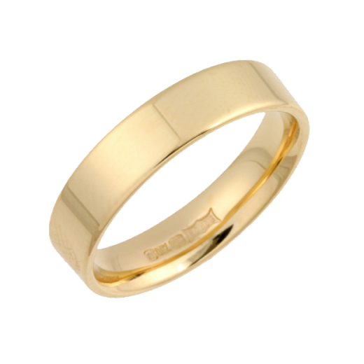Cherubs Jewellery 18ct Gold Heavy Flat Court Shaped Wedding Ring 4mm