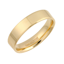 18ct Gold Heavy Flat Court Shaped Wedding Ring 4mm