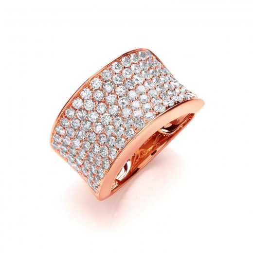 Cherubs Jewellery 18ct Rose Gold Pave Diamond Set Ring 2.00ct G/H Si