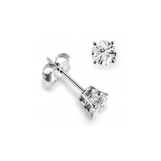 Cherubs Jewellery 18ct White Gold Classic Four Claw Set Diamond Earrings .50ct
