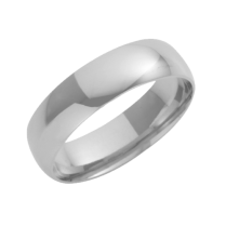 18ct White Gold Court Shaped Wedding Ring 6mm