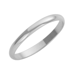 18ct White Gold D-Shape Wedding Ring 2mm