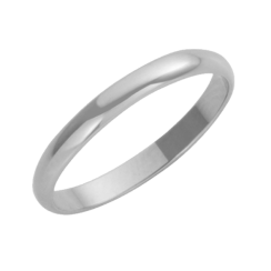 18ct White Gold D-Shape Wedding Ring 3mm