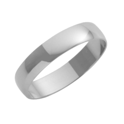 18ct White Gold D-Shape Wedding Ring 4mm