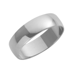 18ct White Gold D-Shape Wedding Ring 5mm