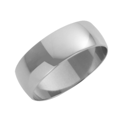 18ct White Gold D-Shape Wedding Ring 7mm