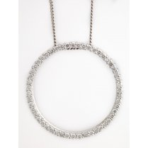 18ct White Gold Diamond Circle Pendant 1ct