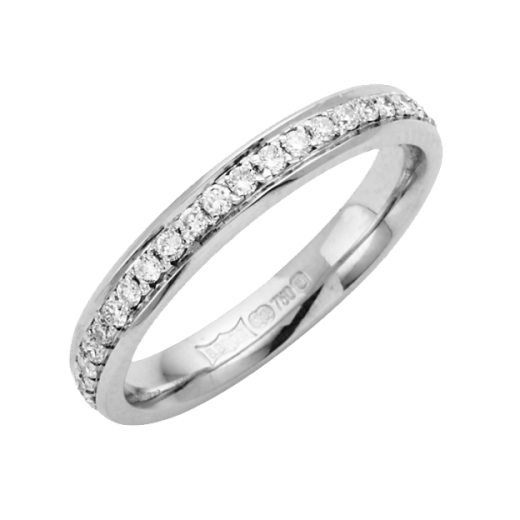 Cherubs Jewellery 18ct White Gold Diamond Set Wedding Ring 3mm