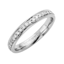 18ct White Gold Diamond Set Wedding Ring 3mm