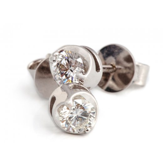 Cherubs Jewellery 18ct White Gold Diamond Solitaire Earrings .50ct