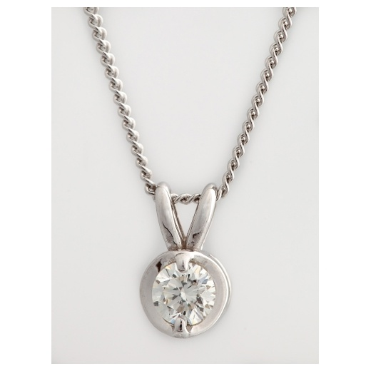 Cherubs Jewellery 18ct White Gold Diamond Solitaire Pendant .33ct