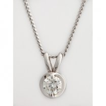 18ct White Gold Diamond Solitaire Pendant .33ct