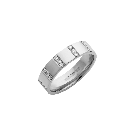 Cherubs Jewellery 18ct White Gold Diamond Striped Wedding Ring 5mm .15ct