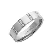 18ct White Gold Diamond Striped Wedding Ring 5mm .15ct