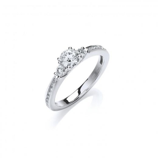 Cherubs Jewellery 18ct White Gold Diamond Trilogy Ring .69ct