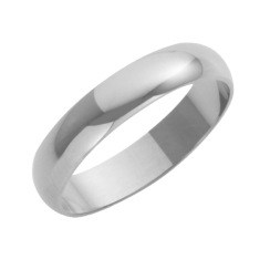 18ct White Gold Heavy D-Shape Wedding Ring 4mm