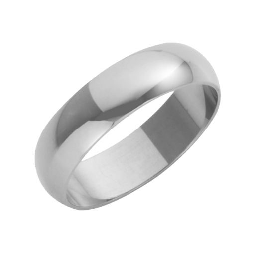 Cherubs Jewellery 18ct White Gold Heavy D-Shape Wedding Ring 5mm