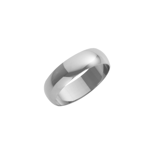 Cherubs Jewellery 18ct White Gold Heavy D-Shape Wedding Ring 6mm