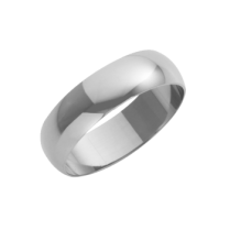 18ct White Gold Heavy D-Shape Wedding Ring 6mm