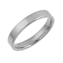 18ct White Gold Heavy Flat Court Shaped Ring 3mm