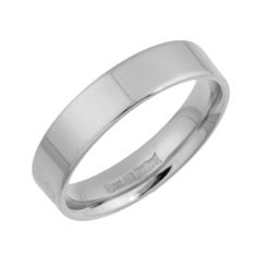 18ct White Gold Heavy Flat Court Shaped Ring 4mm