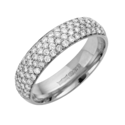 18ct White Gold Pave Diamond Wedding Ring .74ct
