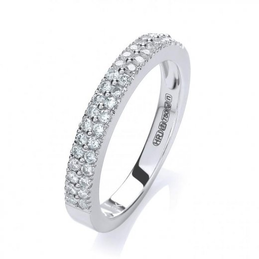 Cherubs Jewellery 18ct White Gold Two Row Diamond Eternity Ring .35ct G/H Si