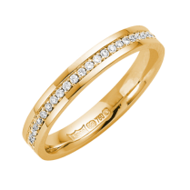 18ct Yellow Gold 3mm Diamond Set Wedding Ring