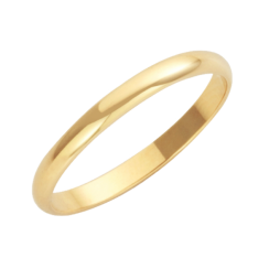 18ct Yellow Gold D-Shape Wedding Ring 2mm