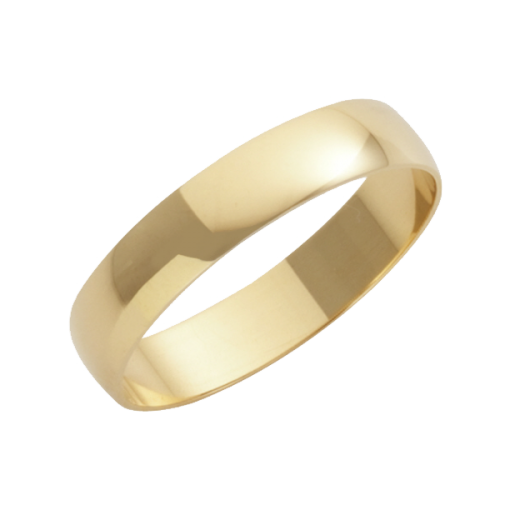 Cherubs Jewellery 18ct Yellow Gold D-Shape Wedding Ring 4mm