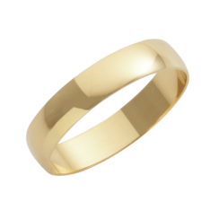 18ct Yellow Gold D-Shape Wedding Ring 4mm
