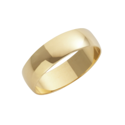18ct Yellow Gold D-Shape Wedding Ring 5mm