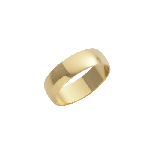 Cherubs Jewellery 18ct Yellow Gold D-Shape Wedding Ring 6mm