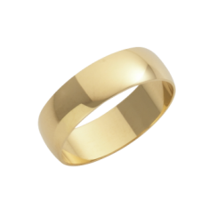 18ct Yellow Gold D-Shape Wedding Ring 6mm