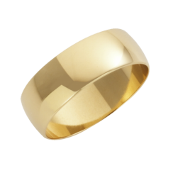 18ct Yellow Gold D-Shape Wedding Ring 7mm