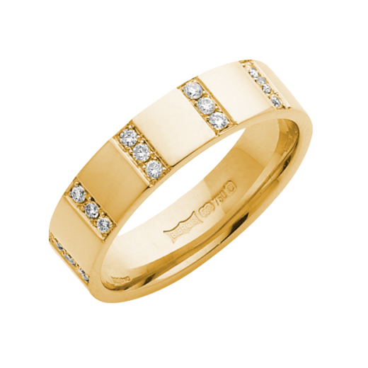 Cherubs Jewellery 18ct Yellow Gold Diamond Striped Wedding Ring 5mm