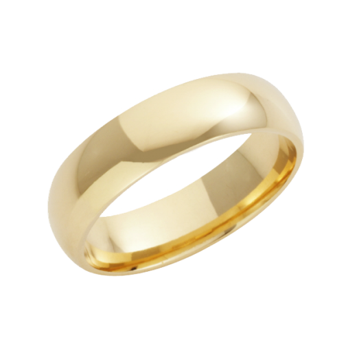 Cherubs Jewellery 18ct Yellow Gold Heavy Court Wedding Ring 6mm