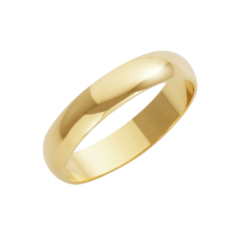 18ct Yellow Gold Heavy D-Shape Wedding Ring 4mm
