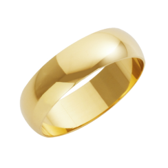 18ct Yellow Gold Heavy D-Shape Wedding Ring 6mm