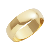 18ct Yellow Gold Heavy D-Shape Wedding Ring 7mm
