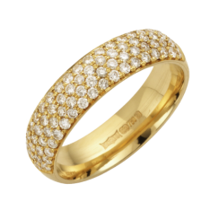 18ct Yellow Gold Pave Set Diamond Wedding Ring