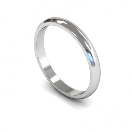 Cherubs Jewellery 2.5mm Light D-shape Wedding Ring - 950 Platinum