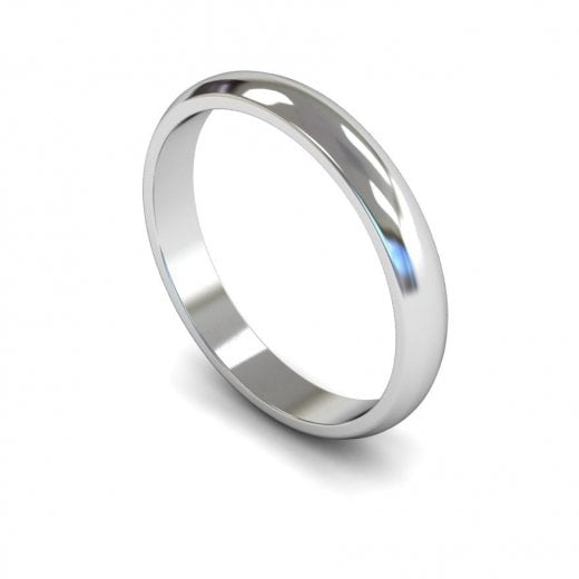 Cherubs Jewellery 3mm Light D-shape Wedding Ring - 950 Platinum