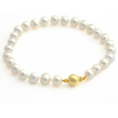 7mm Freshwater Pearl Bracelet With 9ct Yellow Gold Ball Clasp