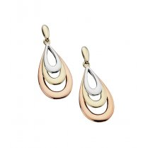 9ct Rose Gold, Yellow Gold & White Gold Drop Earrings