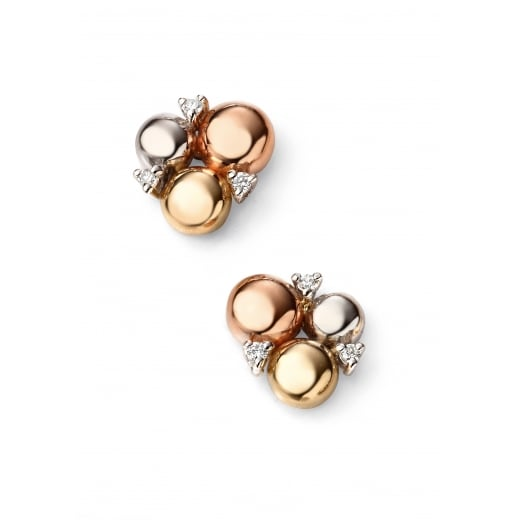 Cherubs Jewellery 9ct Three Colour Gold Circles Stud Earring with Diamonds