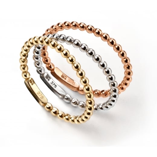 Cherubs Jewellery 9ct Three colour gold set of three interlocking stacking rings