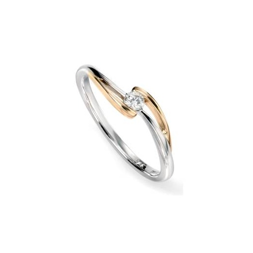 Cherubs Jewellery 9ct White and yellow gold diamond twist ring .10ct